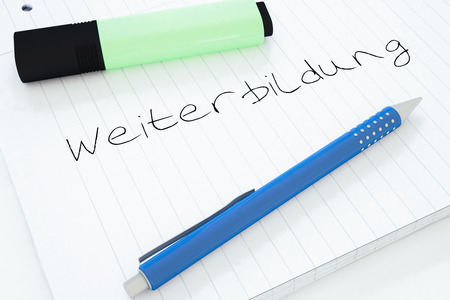 further education: Weiterbildung - german word for further education - handwritten text in a notebook on a desk - 3d render illustration.