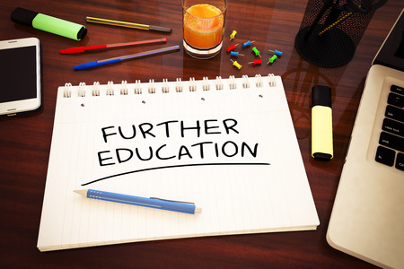 further: Further Education - handwritten text in a notebook on a desk - 3d render illustration.