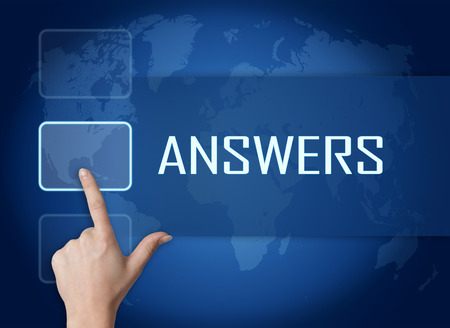 answers concept: Answers concept with interface and world map on blue background