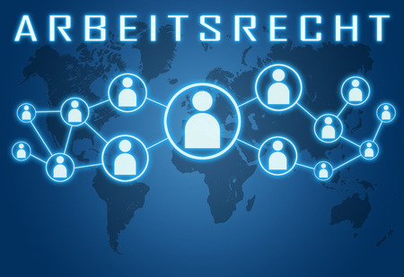 arbeitsrecht: Arbeitsrecht - german word for labor�law concept on blue background with world map and social icons.