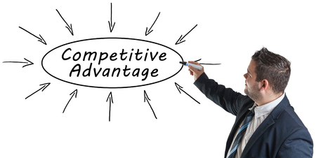 differentiation: Competitive Advantage - young businessman drawing information concept on whiteboard.
