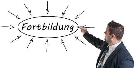 further: Fortbildung - german word for further education - young businessman drawing information concept on whiteboard.