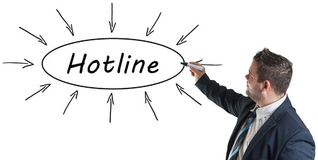 warranty questions: Hotline - young businessman drawing information concept on whiteboard. Stock Photo