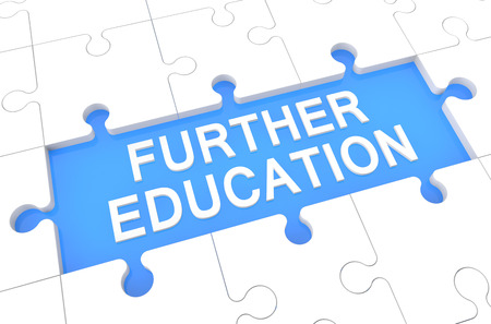 further education: Further Education - puzzle 3d render illustration with word on blue background