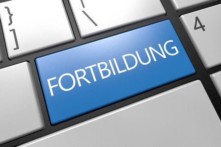 further: Fortbildung - german word for further education - keyboard 3d render illustration with word on blue key Stock Photo