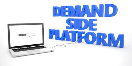 online bidding: Demand Side Platform - laptop notebook computer connected to a word on white background. 3d render illustration. Stock Photo