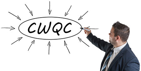 structuring: CWQC - Company Wide Quality Control - young businessman drawing information concept on whiteboard.