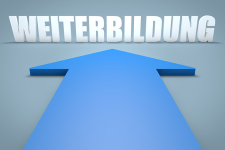 further: Weiterbildung - german word for further education - 3d render concept of blue arrow pointing to text. Stock Photo
