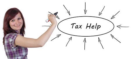 government services: Tax Help - young businesswoman drawing information concept on whiteboard. Stock Photo