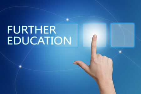 further: Further Education - hand pressing button on interface with blue background.