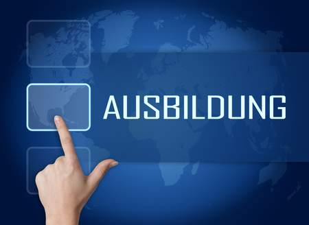 student study: Ausbildung - german word for education or training concept with interface and world map on blue background