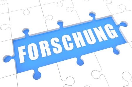 metodo cientifico: Forschung - palabra alemana para la investigación - rompecabezas 3d Ilustración con la palabra sobre fondo azul