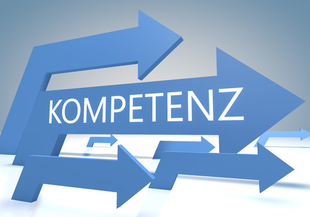 mastery: Kompetenz - german word for competence - render concept with blue arrows on a bluegrey background. Stock Photo