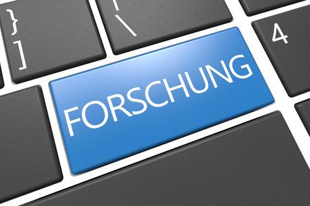 metodo cientifico: Forschung - palabra alemana para la investigación - Teclado 3d Ilustración con la palabra en clave azul Foto de archivo