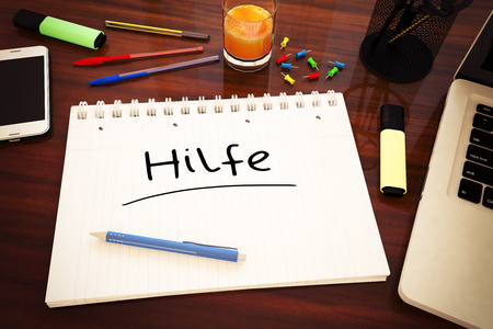pancreatic cancer: Hilfe - german word for help - handwritten text in a notebook on a desk - 3d render illustration.