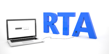 rta: RTA - Real Time Advertising - laptop notebook computer connected to a word on white background. 3d render illustration.