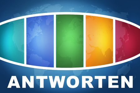 are modern: Antworten - german word for answer or respond text illustration concept on blue background with colorful world map
