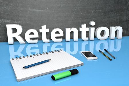 retention: Retention - text concept with chalkboard, notebook, pens and mobile phone. 3D render illustration. Stock Photo