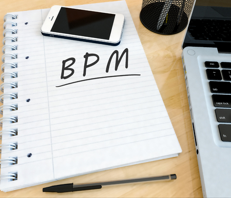 bpm: BPM - Business Process Management - handwritten text in a notebook on a desk with laptop and mobilephone- 3d render illustration.