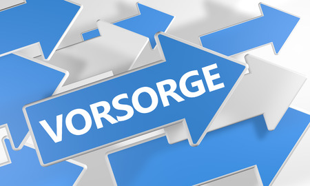 precaution: Vorsorge - german word for precaution, prevention or provision - 3d render concept with blue and white arrows flying over a white background.