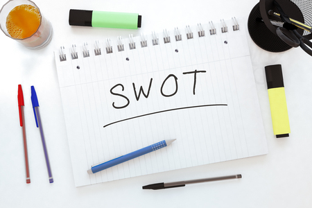 weaknesses: SWOT for strengths, weaknesses, opportunities and threats - handwritten text in a notebook on a desk - 3d render illustration.