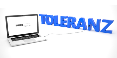 tolerancia: Toleranz - german word for tolerance - laptop notebook computer connected to a word on white background. 3d render illustration.