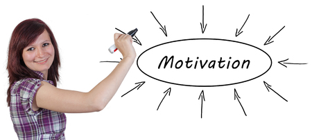 reason: Motivation - young businesswoman drawing information concept on whiteboard. Stock Photo