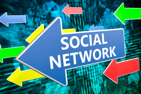wikis: Social Network - text concept on blue arrow flying over green world map background. 3D render illustration.