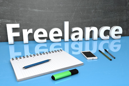 freelancing: Freelance - text concept with chalkboard, notebook, pens and mobile phone. 3D render illustration. Stock Photo