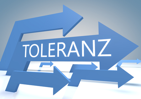 tolerate: Toleranz - german word for tolerance - render concept with blue arrows on a bluegrey background. Stock Photo