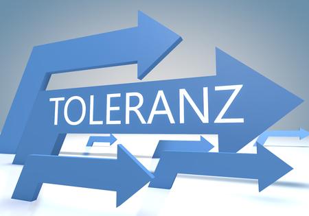 tolerancia: Toleranz - palabra alemana para la tolerancia - render concepto con las flechas azules sobre un fondo-azul.