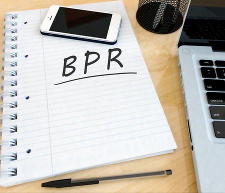 basic scheme: BPR - Business Process Reengineering - handwritten text in a notebook on a desk with laptop and mobilephone- 3d render illustration. Stock Photo