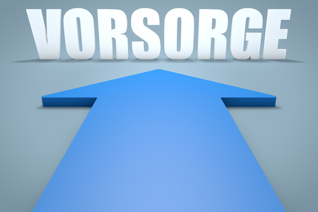 precaution: Vorsorge - german word for precaution, prevention or provision - 3d render concept of blue arrow pointing to text.