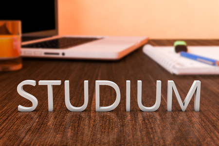 assignment: Studium - german word for studies or study  - letters on wooden desk with laptop computer and a notebook. 3d render illustration.