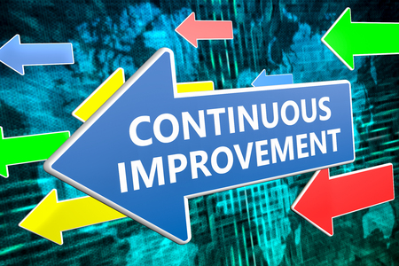 cip: Continuous Improvement - text concept on blue arrow flying over green world map background. 3D render illustration.