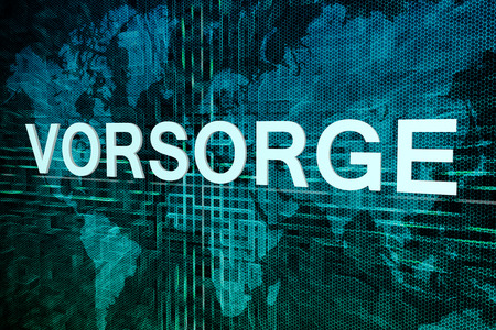 precaution: Vorsorge - german word for precaution, prevention or provision text concept on green digital world map background Stock Photo