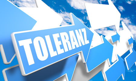tolerate: Toleranz - german word for tolerance - 3d render concept with blue and white arrows flying in a blue sky with clouds