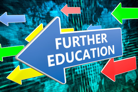 further education: Further Education - text concept on blue arrow flying over green world map background. 3D render illustration. Stock Photo