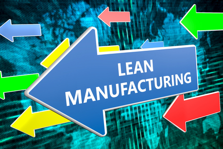 lean over: Lean Manufacturing - text concept on blue arrow flying over green world map background. 3D render illustration.