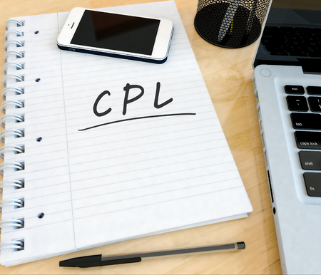 cpl: CPL - Cost per Lead - handwritten text in a notebook on a desk with laptop and mobilephone- 3d render illustration.