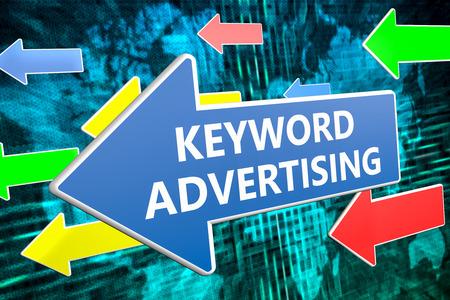 keyword: Keyword Advertising - text concept on blue arrow flying over green world map background. 3D render illustration.