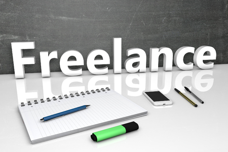 independent contractor: Freelance - text concept with chalkboard, notebook, pens and mobile phone. 3D render illustration. Stock Photo