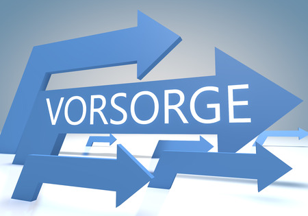 precaution: Vorsorge - german word for precaution, prevention or provision - render concept with blue arrows on a bluegrey background. Stock Photo