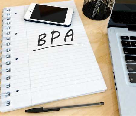 bpm: BPA - Business Process Analysis - handwritten text in a notebook on a desk with laptop and mobilephone- 3d render illustration. Stock Photo