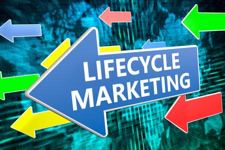 lifecycle: Ciclo de vida de Marketing - Concepto de texto en la flecha azul que volaba sobre el mapa del mundo de fondo verde. 3D ilustración de procesamiento.