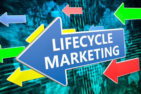 lifecycle: Lifecycle Marketing - text concept on blue arrow flying over green world map background. 3D render illustration.
