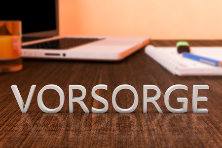 precaution: Vorsorge - german word for precaution, prevention or provision - letters on wooden desk with laptop computer and a notebook. 3d render illustration.