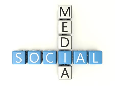 wikis: Social Media crossword on white background - 3d render illustration. Stock Photo