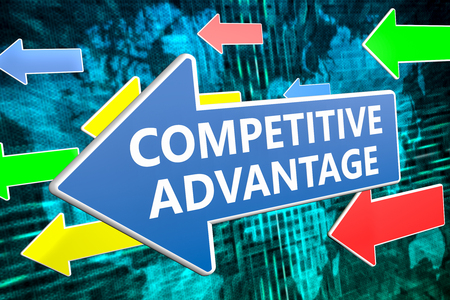 differentiation: Competitive Advantage - text concept on blue arrow flying over green world map background. 3D render illustration.