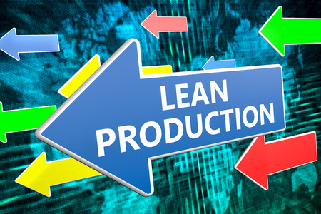 lean over: Lean Production - text concept on blue arrow flying over green world map background. 3D render illustration. Stock Photo